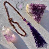 Amethyst Healing Copper Purple Tassel Necklace